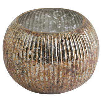 Large Round Candle Holder In Antique Bronze Finish