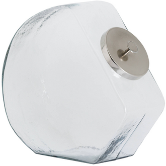 Glass Penny Sweet Jar With Chrome Lid