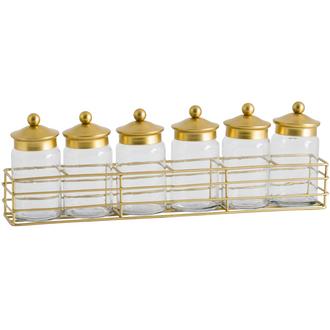 Six Jar Spice Rack With Brass Lid