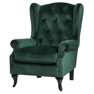Emerald Green Button Pressed Wing Chair