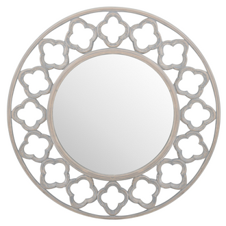 Quarterfoil Cut Out Round Grey Painted Mirror