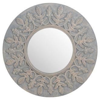Grey Painted Fleur De Lis Round hand carved Mirror