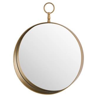 Antique Bronze Circular Mirror With Decorative Loop