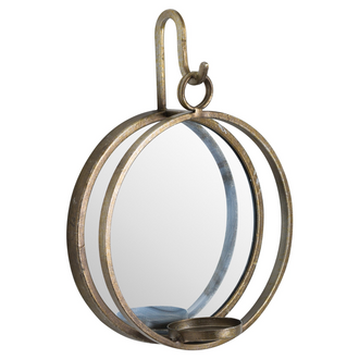 Large Bronze Wall Hanging Mirrored Candle Holder
