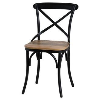 Cross Back Black Metal Dining Chair With Hardwood Seat
