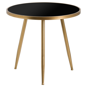 Antique Bronze Circular Side Table With Black Glass Top