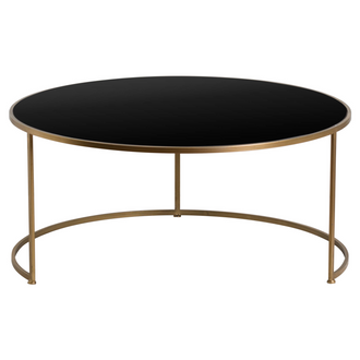 Set Of Two Antique Bronze Side Tables With Black Glass