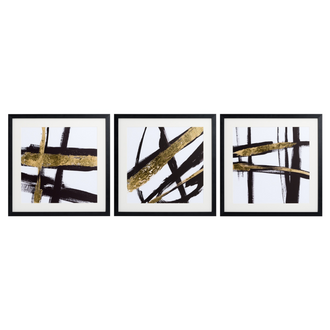 Set Of Three Contemporary Black And Gold Images