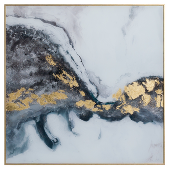 Marble Effect Gray And Gold Glass Image With Frame