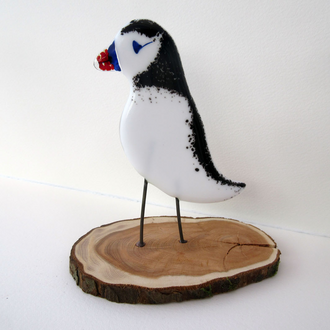Fused & Painted Glass Puffin