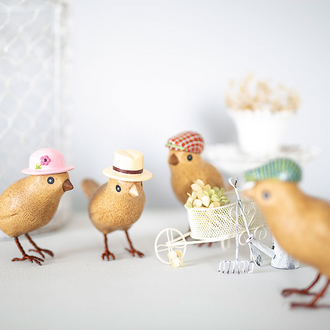 Natural Finish Garden Birds with Hats