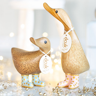 Natural Finish Ducks with Gold Spotty Welly Boots
