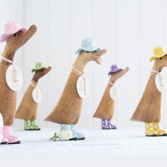 Natural finish Ducklings with Spotty Hats and Welly Boots
