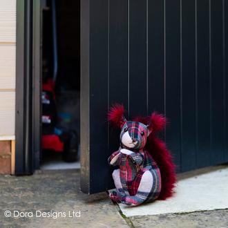 Berry Plaid Squirrel Doorstop