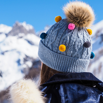 Cable Knit Pom-Pom Bobble Hat