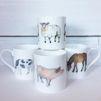 Farmyard animal mugs