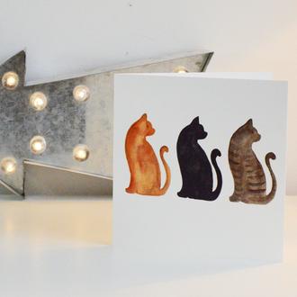 Three Cats Greetings Card