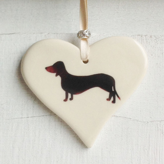 Black and Tan Smooth Haired Dachshund Handmade Ceramic Heart