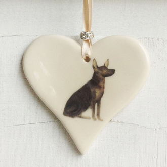 German Shepherd Handmade Ceramic Heart