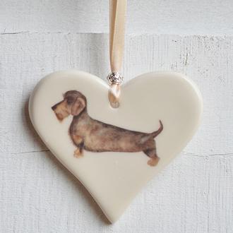 Wire Haired Dachshund Handmade Ceramic Heart