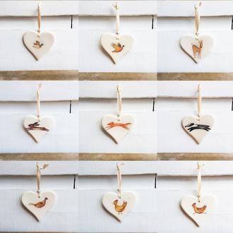 Countryside Animal Handmade Ceramic Hearts