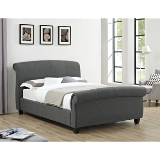 Arabella Linen Fabric Double Bed Grey