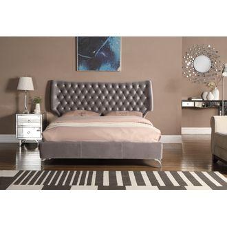 Ashbourne Velvet Double Bed Grey