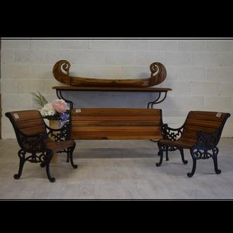 Woodenn garden bench set