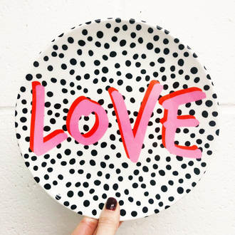 Love Polka Dot Plate by Rachel Waite