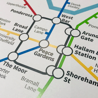 Sheffield, South Yorkshire | Underground Style Map
