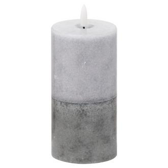Luxe Collection Natural Glow 3x6 Grey Dipped LED Candle