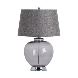The Versailles Smoked Glass Table Lamp with Chrome Base