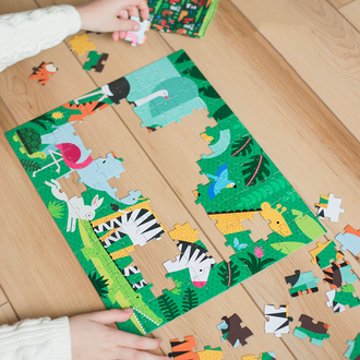Petit Collage Two Sided On The Go Puzzle - Animal Menagerie