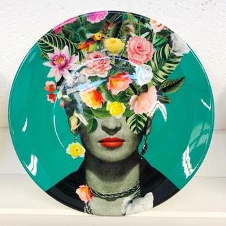 Frida Floral (Green) Plate by Desiree Feldmann
