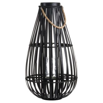 Hover over image to enlarge Download High Resolution Image Large Floor Standing Domed Wicker Lantern With Rope Detail