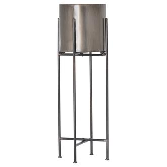 Gun Metal Grey Cylindrical Planter On Black Frame