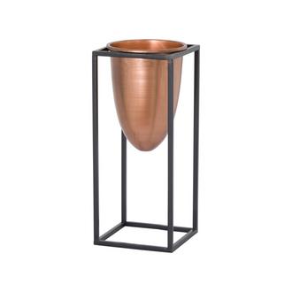 Copper Bullet Planter On Black Frame