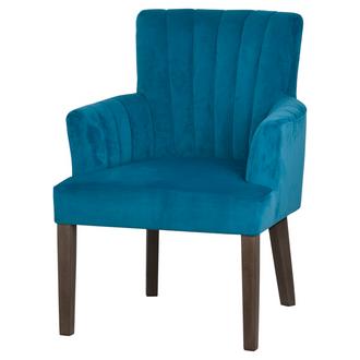 Teal Velvet Scalloped Back Chair