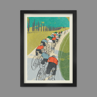 Following the Wheel - Cycling Poster print