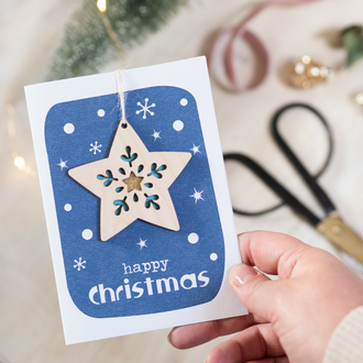 Frosted Star Christmas Keepsake Card