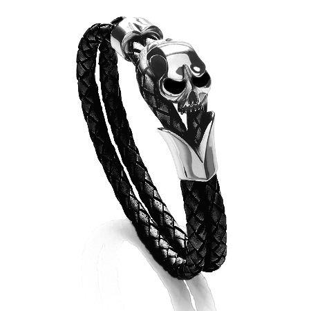 Tribal Steel Men's Leather Bracelets