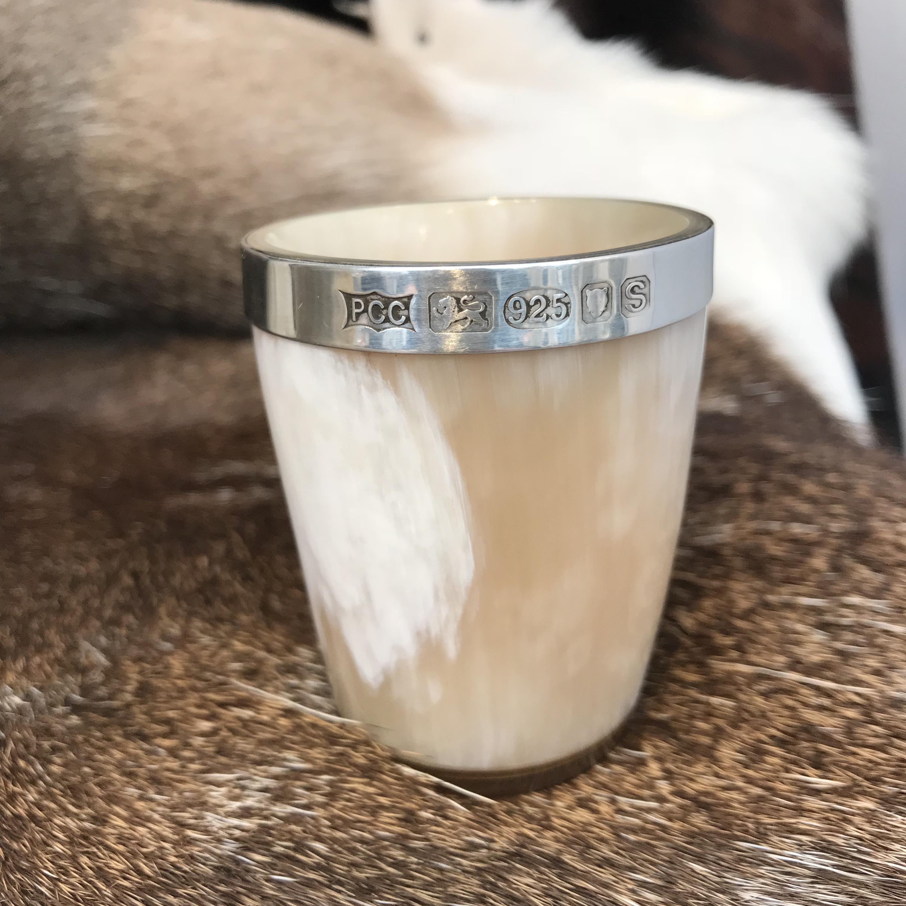 Silver Rimmed Horn Shot Glass