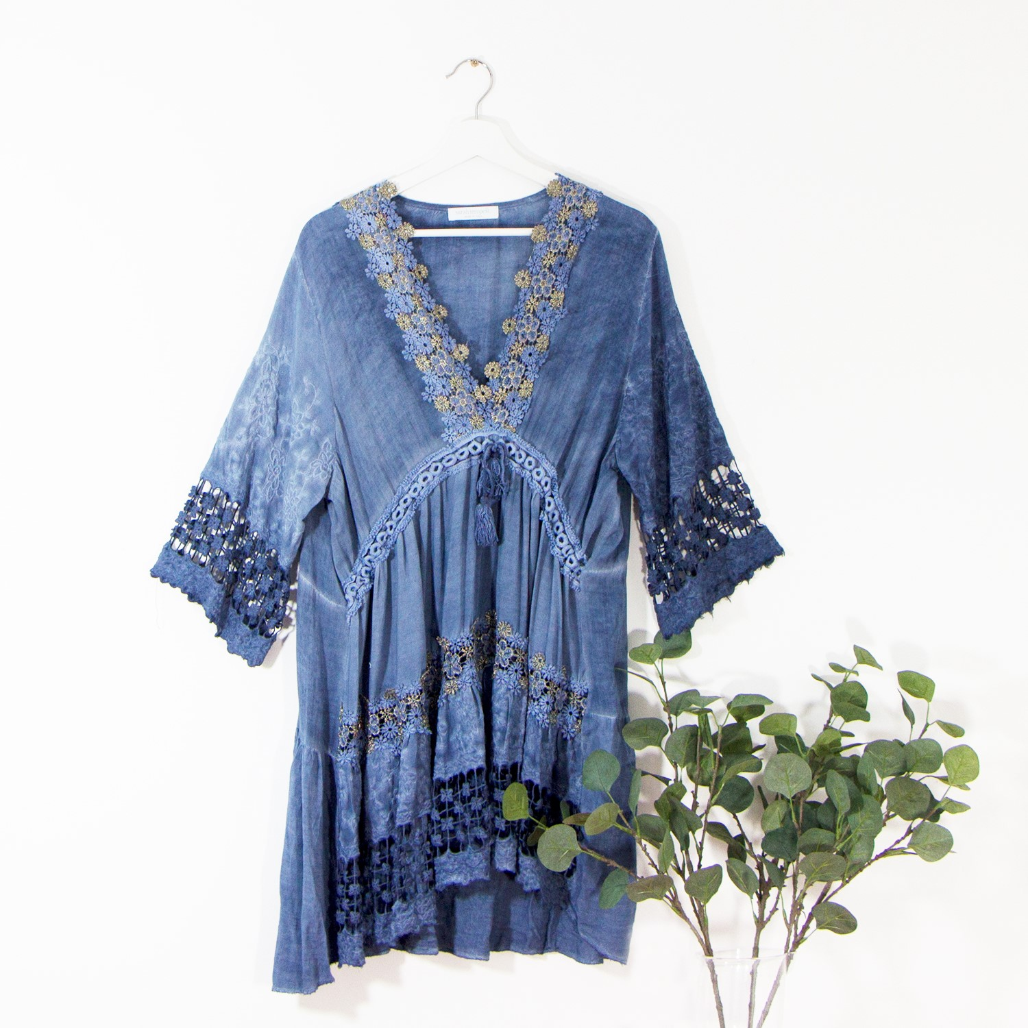 Boho prairie style viscose dress with vintage wash and gold lace detail