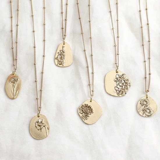 GOLD PLATED STERLING SILVER JUNE BIRTHFLOWER CAST NECKLACE