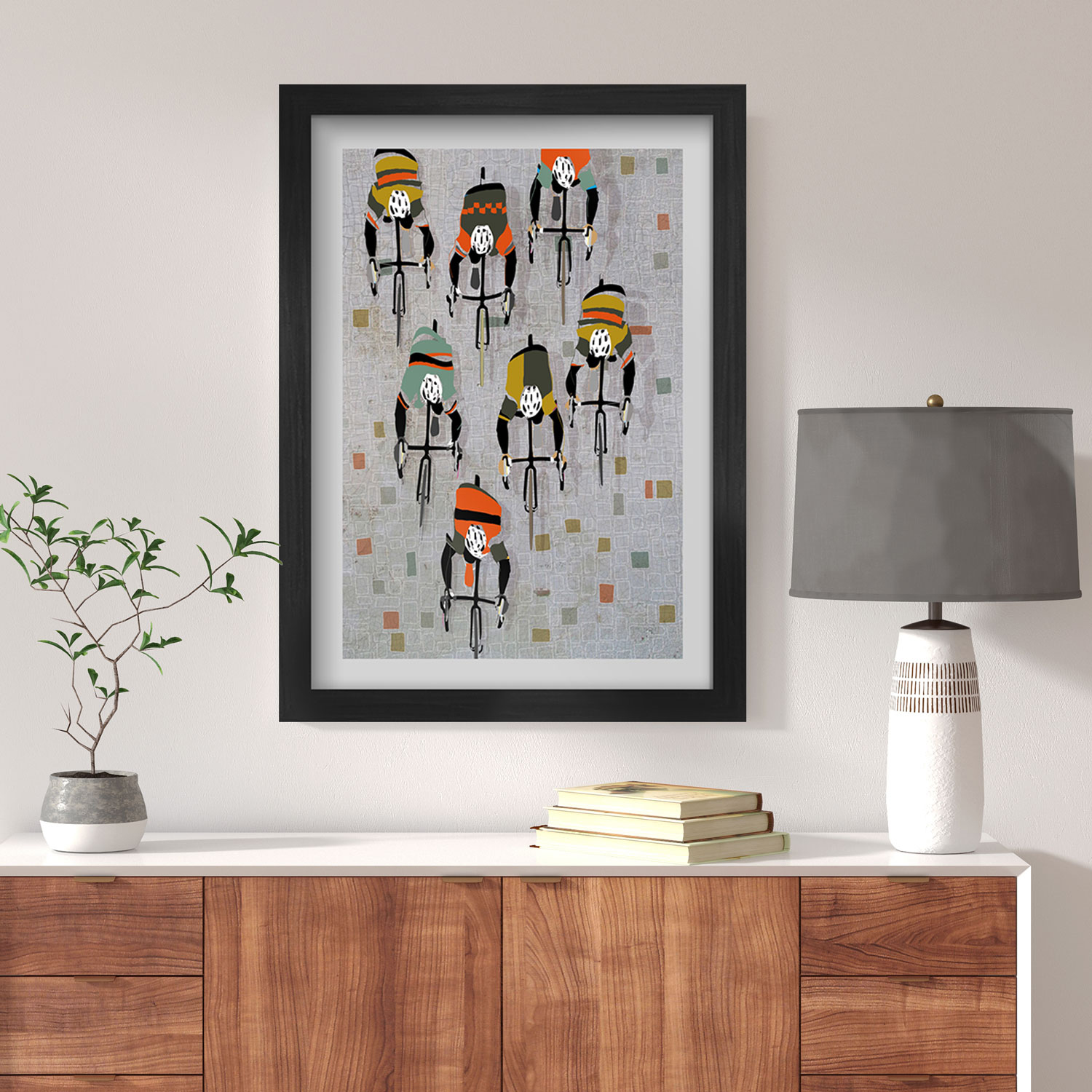Over The Cobbles - Cycling Poster print