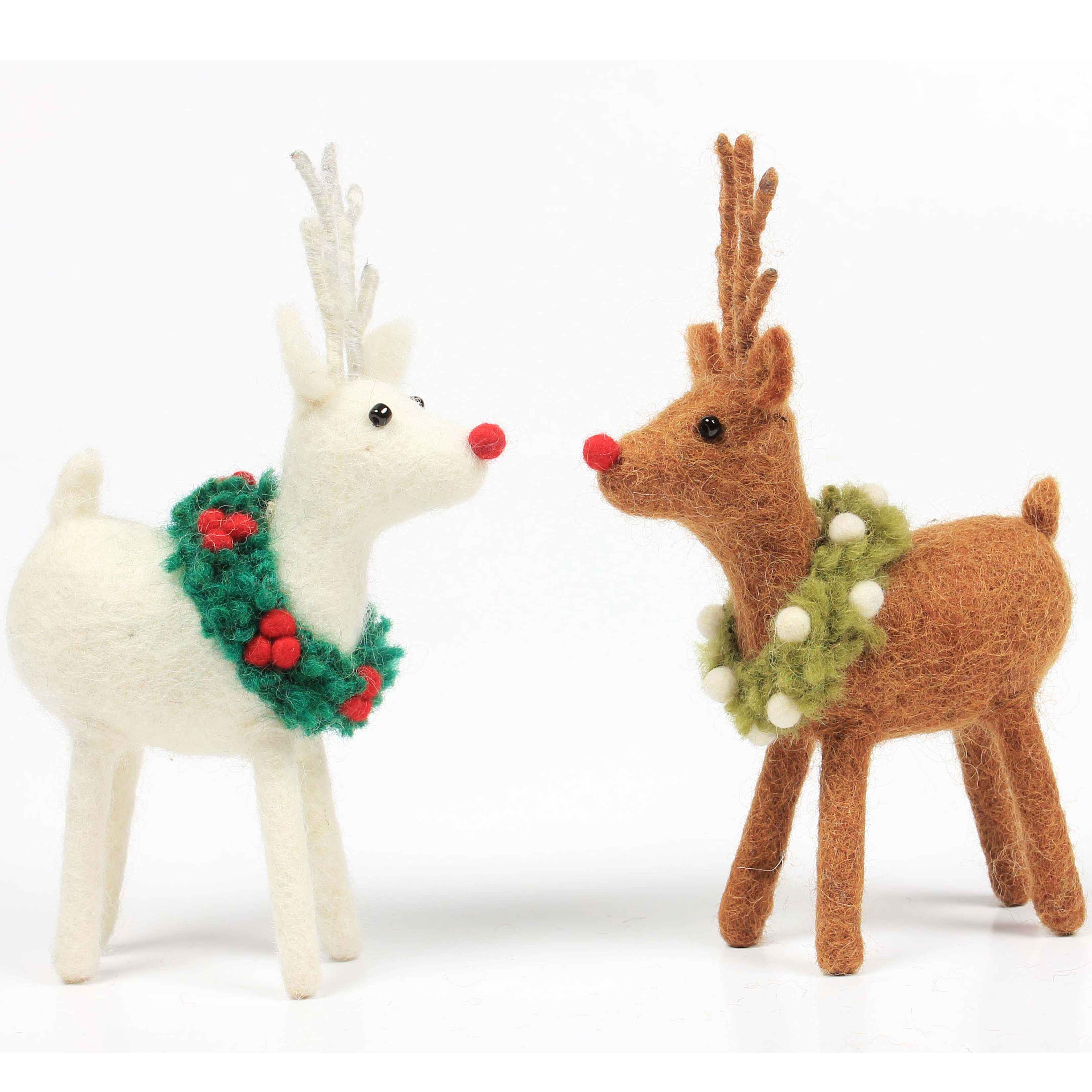 Reindeer with Holly & Mistletoe Wreath