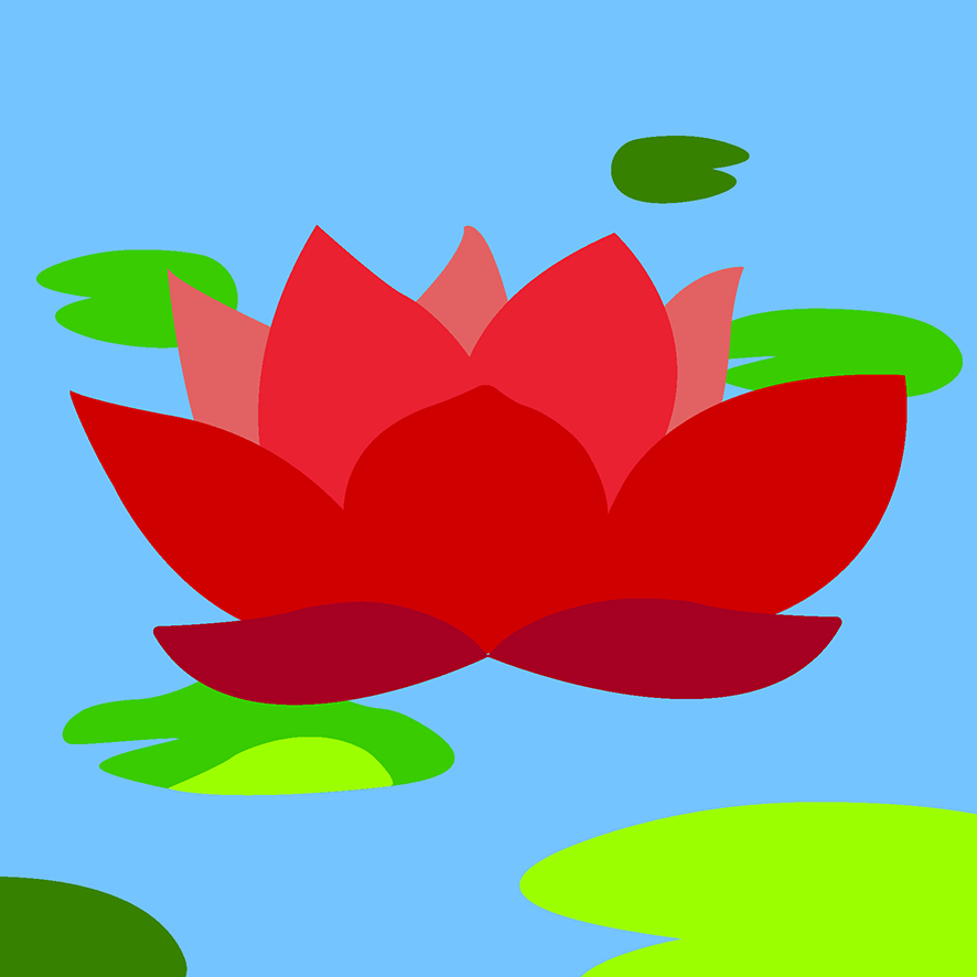 WATER LILIES: RED