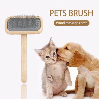 Wooden pet grooming brush