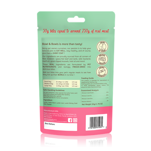 Grass-fed Goat Milk Puppy  Freeze-Dried Bites 50g(For 4-16 Post Weaning Immune Gap)